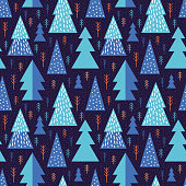 Abstract seamless pattern geometric forest. Simple minimalist trees. Scandinavian style Huge. Cartoon Winter. Vector illustration. Colorful design for printed materials.  Christmas trees