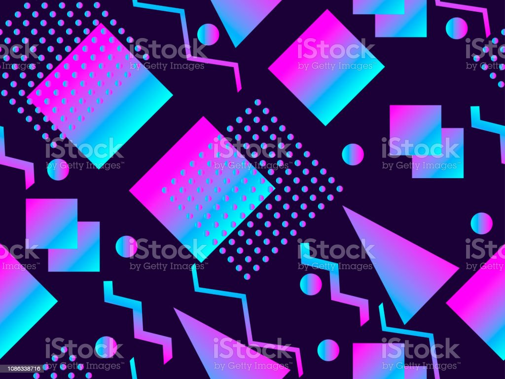 Abstract Seamless Pattern Holographic Geometric Shapes
