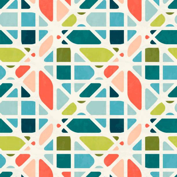 stockillustraties, clipart, cartoons en iconen met abstracte naadloze patroon in het midden van de eeuw moderne kleuren, vectorillustratie met textuur - mozaïek
