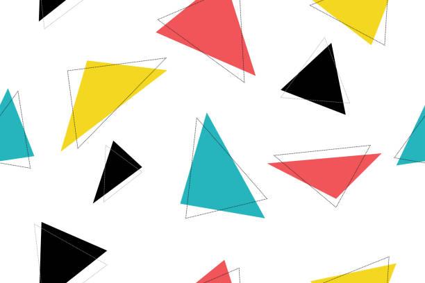 abstrakt, nahtlose muster mit bunten dreieck formen. moderne vektor hintergrund für grafik-design. - landscape crazy stock-grafiken, -clipart, -cartoons und -symbole