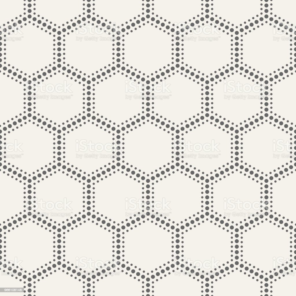 Abstract seamless pattern of dotted hexagons. - Royalty-free Abstract stock vector