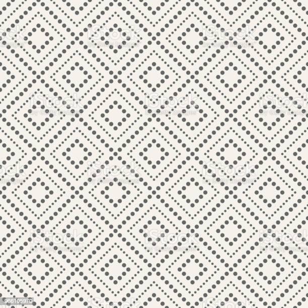 Abstract Seamless Pattern Of Dotted Rhombuses — стоковая векторная графика и другие изображения на тему Абстрактный