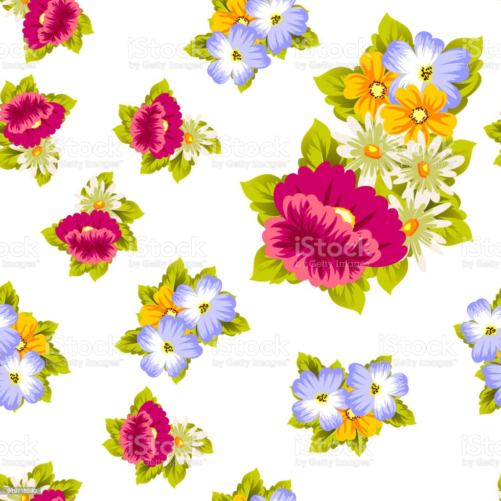 Abstract Seamless Pattern Of Flowers For Card Designs Greeting Cards