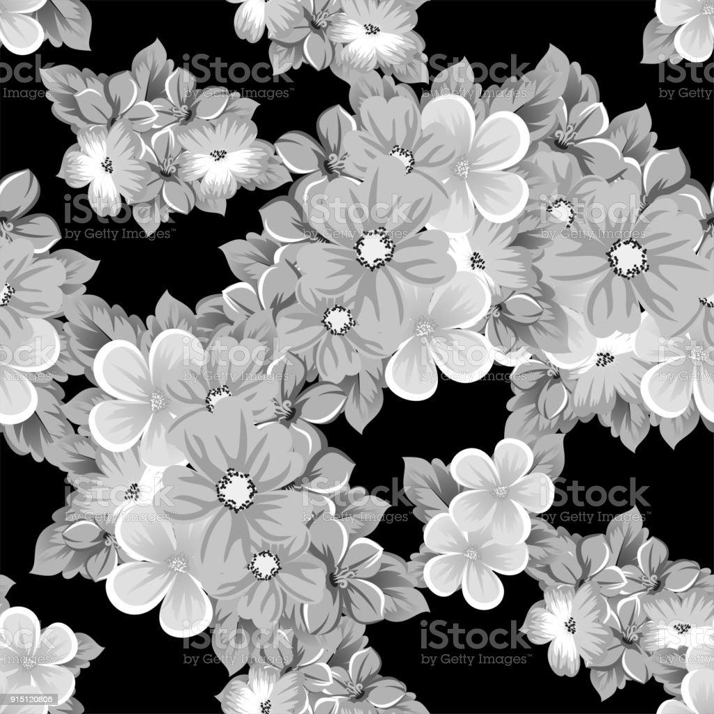 Ilustración de Resumen De Patrones Sin Fisuras De Flores Sobre Un ...