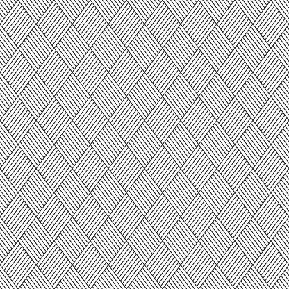 Abstract Seamless Pattern Of Linear Striped Rhombuses — стоковая векторная графика и другие изображения на тему Абстрактный
