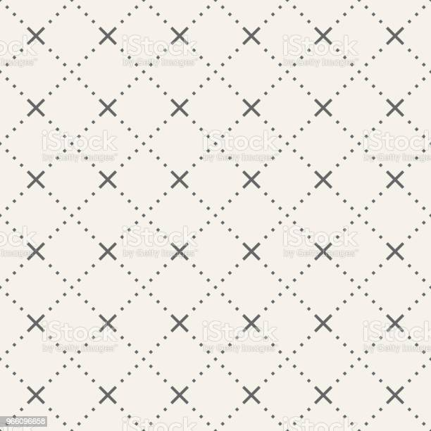 Abstract Seamless Pattern Of Tiny Rhombuses And Crosses - Arte vetorial de stock e mais imagens de Abstrato