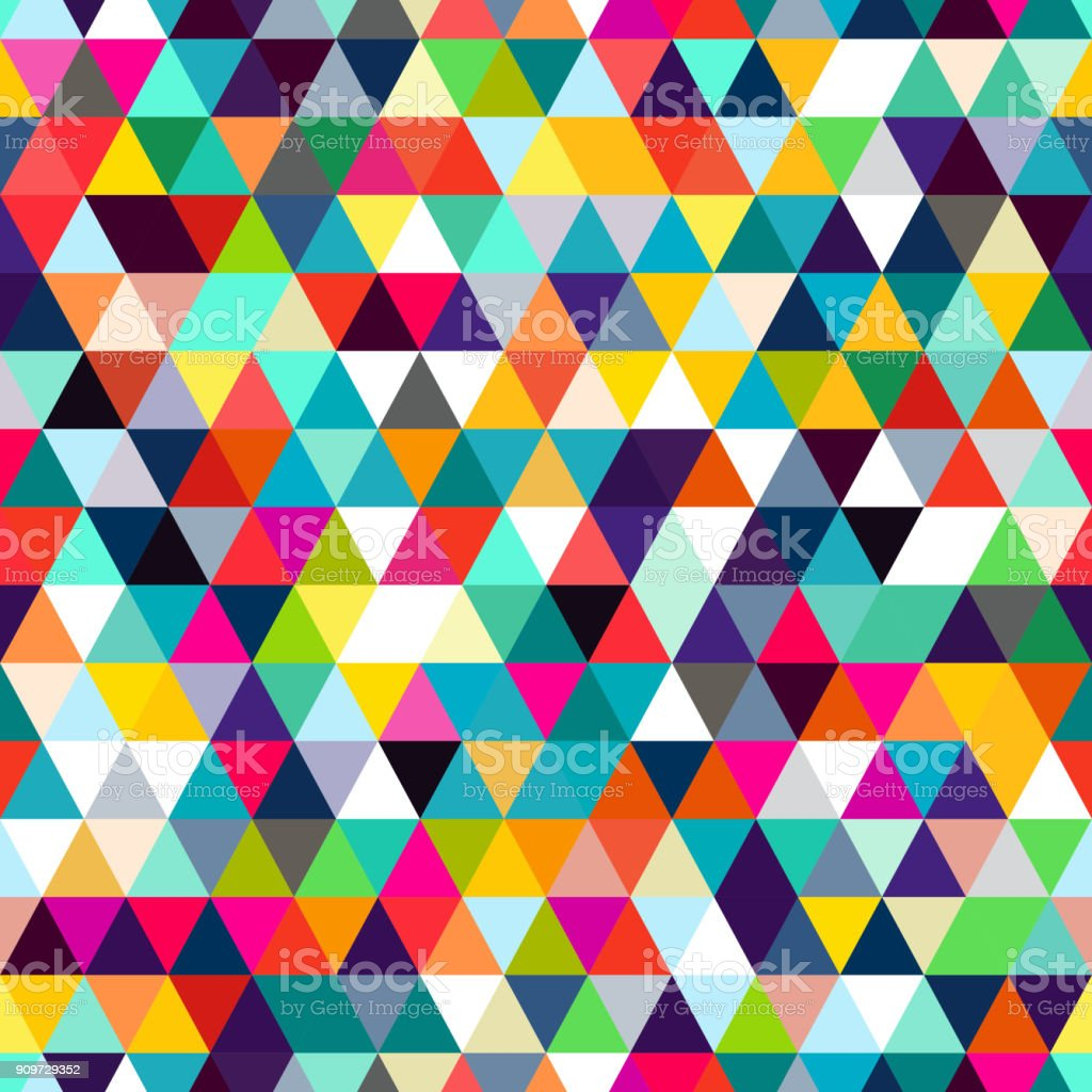 Abstract seamless pattern of triangles. Mosaic of geometric forms. vector art illustration
