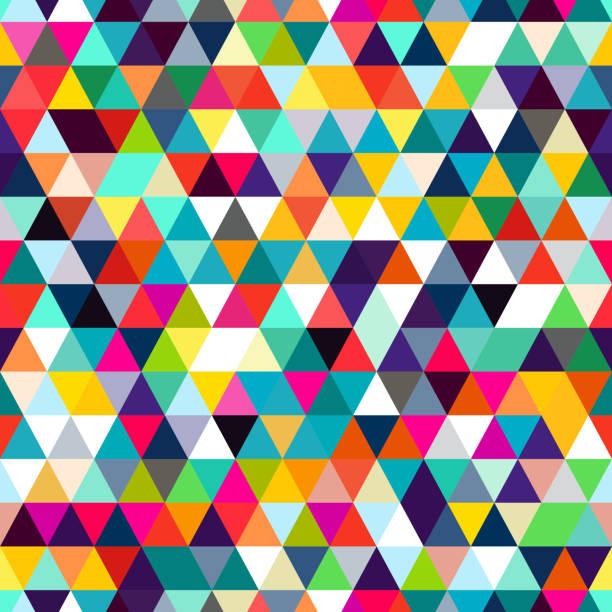 삼각형의 추상 완벽 한 패턴입니다. 기하학적 형태의 모자이크입니다. - 다중 색상 stock illustrations