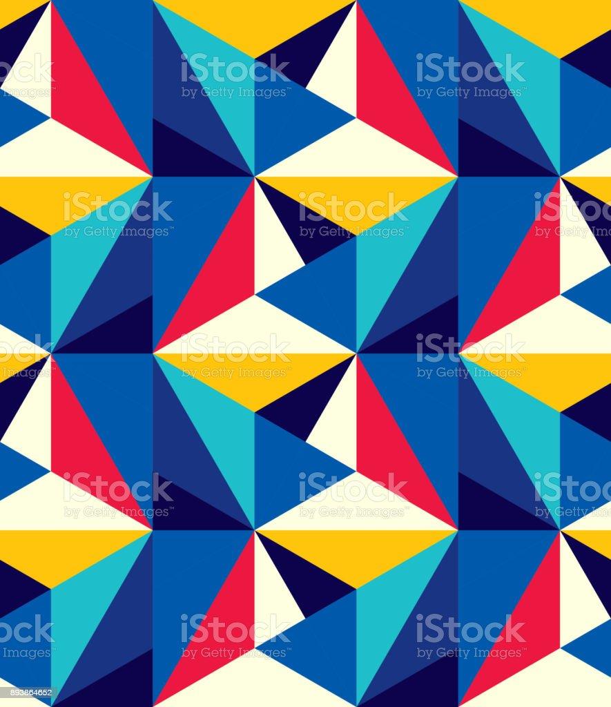Abstract seamless pattern of triangles. Volumetric geometric texture. vector art illustration