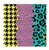 abstract seamless pattern with different ornaments, pop art style,