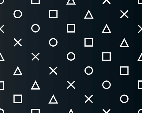 Abstract seamless pattern symbols of the game joystick cross triangle square circle design game console. Design template background geometric symbols play station icons. Vector illustration.