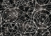 A futuristic abstract seamless pattern in black and white.