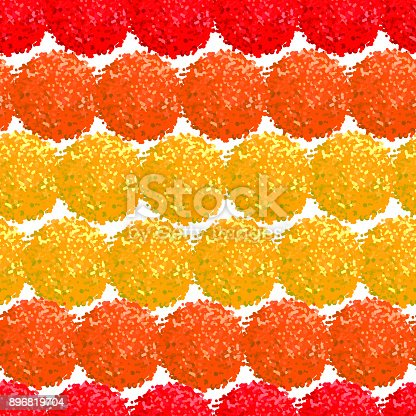 Vector seamless pattern with small furry flowers or pompoms in bright color can be used for web, print, wallpaper, spring summer fashion, fabric, textile, card background.