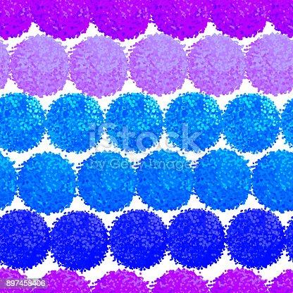 Vector seamless pattern with small furry flowers or pompoms in blue bright color can be used for web, print, wallpaper, spring summer fashion, fabric, textile, card background.