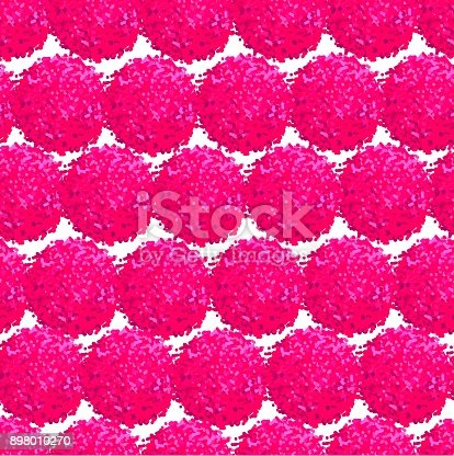 Vector seamless pattern with small furry flowers or pompoms in pink bright color can be used for web, print, wallpaper, spring summer fashion, fabric, textile, card background.