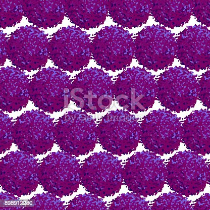 Vector seamless pattern with small furry flowers or pompoms in purple bright color can be used for web, print, wallpaper, spring summer fashion, fabric, textile, card background.