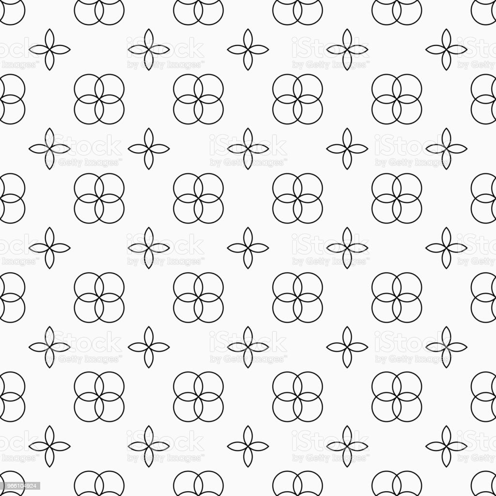 Abstract seamless pattern. Abstract seamless pattern. Regularly repeating geometric ornament of four intersecting circles and four petals. Linear style. Vector background. Abstract stock vector