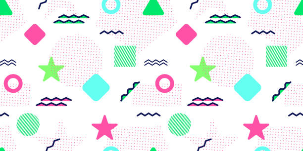 Abstract seamless pattern. Vector. Abstract seamless pattern. Abstract background with trendy geometric elements. Colorful graphic shapes. Modern repeated texture. Large wallpapers. Template backdrop in bright colors kitsch stock illustrations