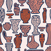 Abstract seamless pattern with antique vases. Vintage objects crockery background. Greek and roman amphoras and vessels for food, wine, grain, oil and incense. Clay dishes with decorative ornament.