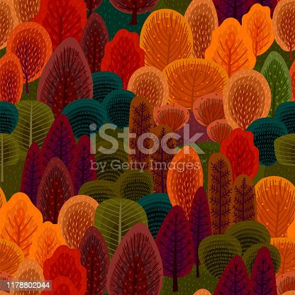Abstract seamless pattern with autumn forest. Trees, bushes, grass, foliage. Vector background for various surface. Trendy hand drawn textures.