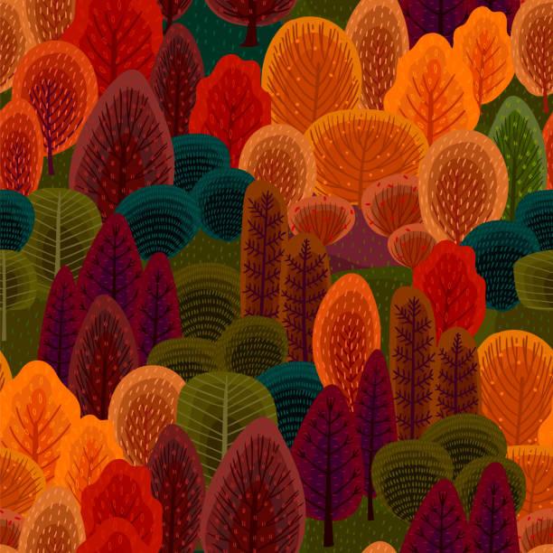 bildbanksillustrationer, clip art samt tecknat material och ikoner med abstrakt sömlöst mönster med höst skog. träd, buskar, gräs, lövverk. - höst