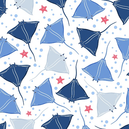 Abstract seamless pattern with blue stingrays swimming underwater