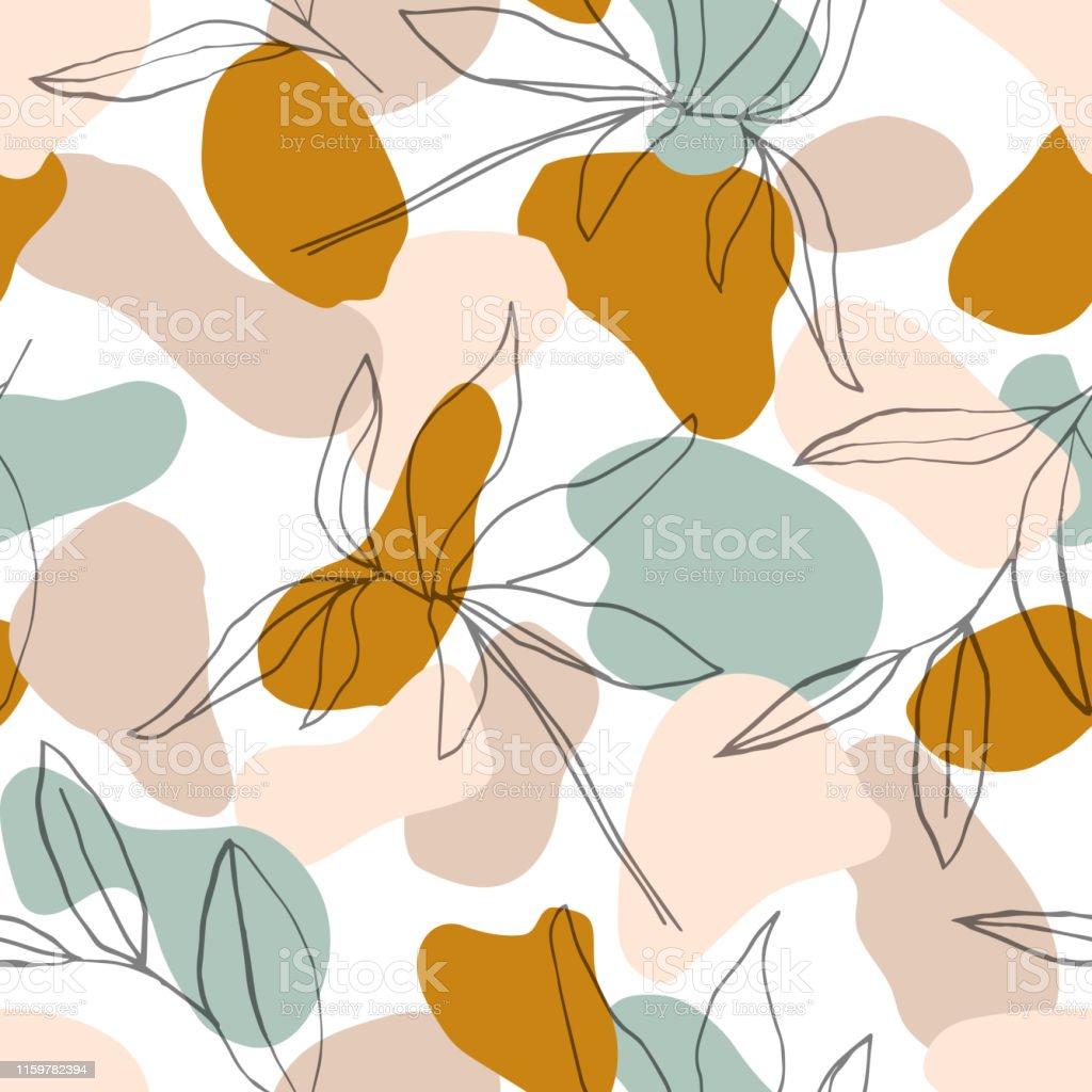 Abstract naadloos patroon met botanische lijnen bladeren in pastelkleur achtergrond. Voor stof, textiel, wenskaart sjabloon, kunst aan de muur, Social mediapost, verpakking. - Royalty-free Abstract vectorkunst