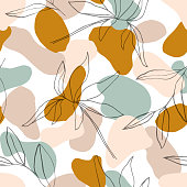 Abstract  seamless pattern with botanical lines  leaves in  pastel color background. For fabric, textile, greeting card template, wall art, social media post, packaging.