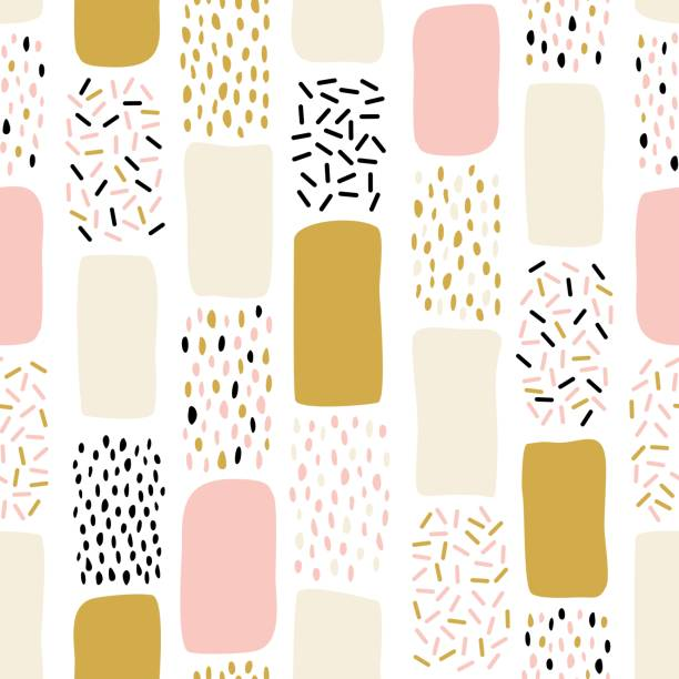 Abstract seamless pattern with chaotic painted elements. Vector Hand drawn texture with different lines, dots and shapes. Abstract seamless pattern with chaotic painted elements. Vector Hand drawn texture with different lines, dots and shapes. Creative universal artistic Fun background in Scandinavian style. scandinavian culture stock illustrations