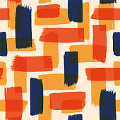 Abstract seamless pattern with color brush strokes. Vector, Grunge, sketch, graffiti, paint, watercolor. Stock illustration