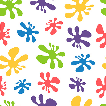 Abstract seamless pattern with colored blots, floral abstract print.