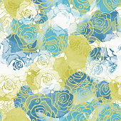 Abstract seamless pattern with colorful watercolor shapes and hand drawn flowers made in vector