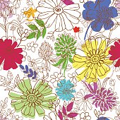 Abstract seamless pattern with hand drawing isolated flowers. Vector illustration.