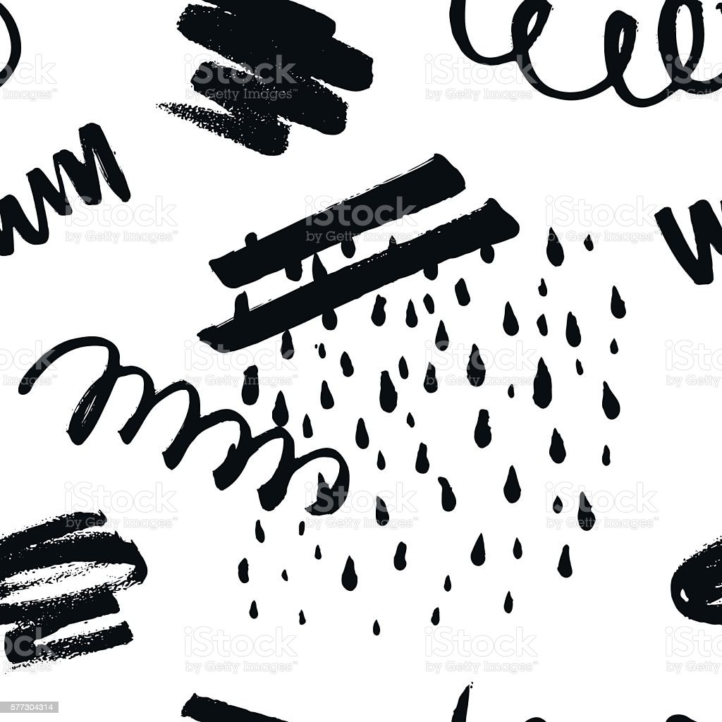Abstract seamless pattern with handdrawn shapes vector art illustration