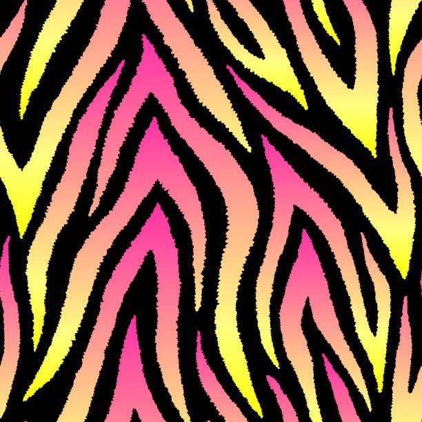 ilustraciones, imágenes clip art, dibujos animados e iconos de stock de patrón abstracto sin costuras con rayas holográficas. diseño de luces polares. fondo de pantalla vectorial digital futurista. - cat vaporwave
