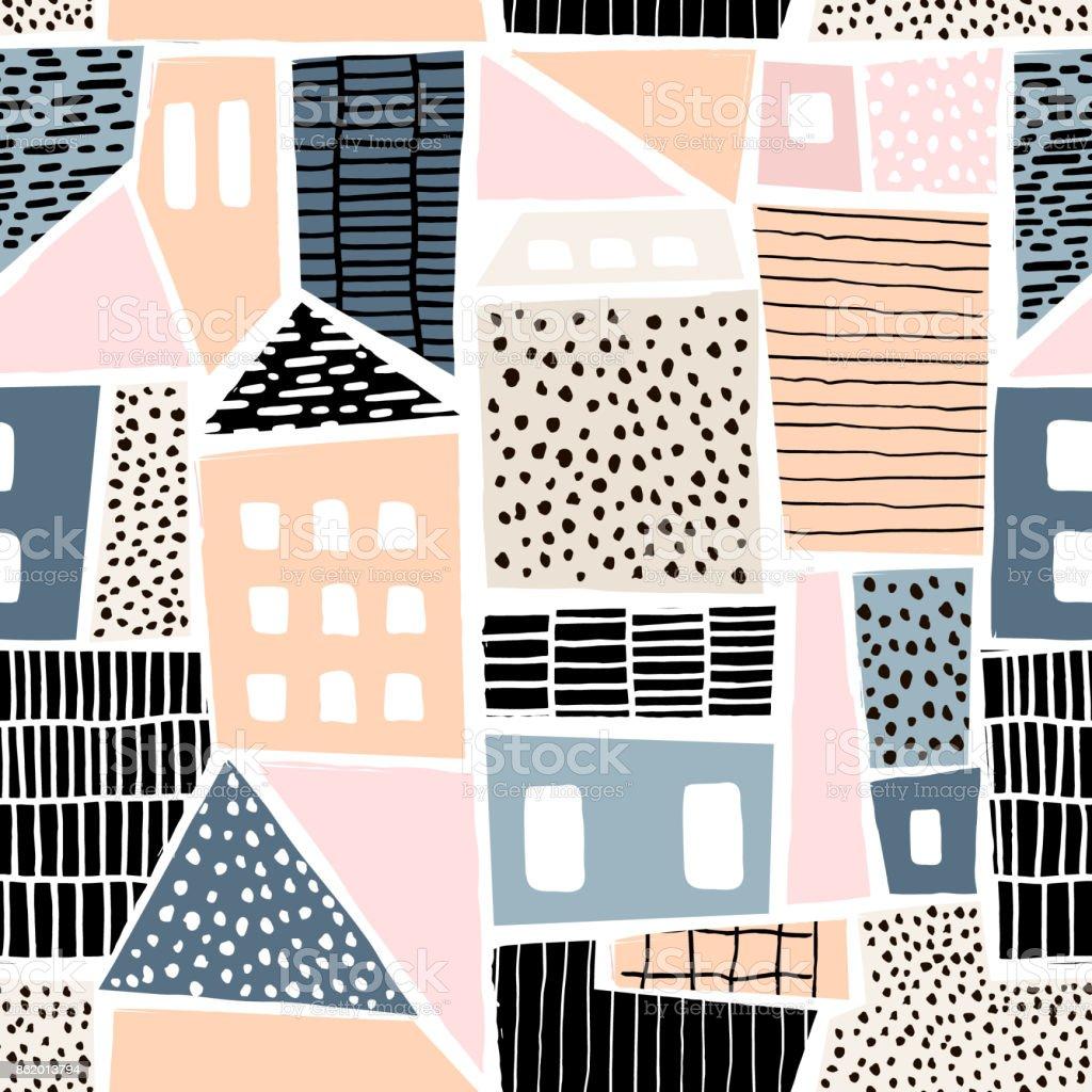 Abstracte naadloze patroon met huizen met hand getrokken texturen en vormen. Perfect voor fabric.textile,wallpaper. Vectorillustratie - Royalty-free Abstract vectorkunst