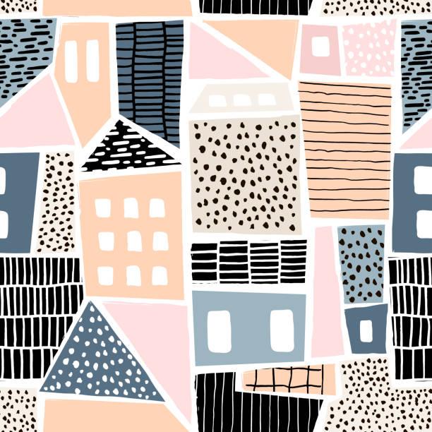 illustrazioni stock, clip art, cartoni animati e icone di tendenza di abstract seamless pattern with houses with hand drawn textures and shapes. perfect for fabric.textile,wallpaper. vector illustration - sfondo scarabocchi e fatti a mano