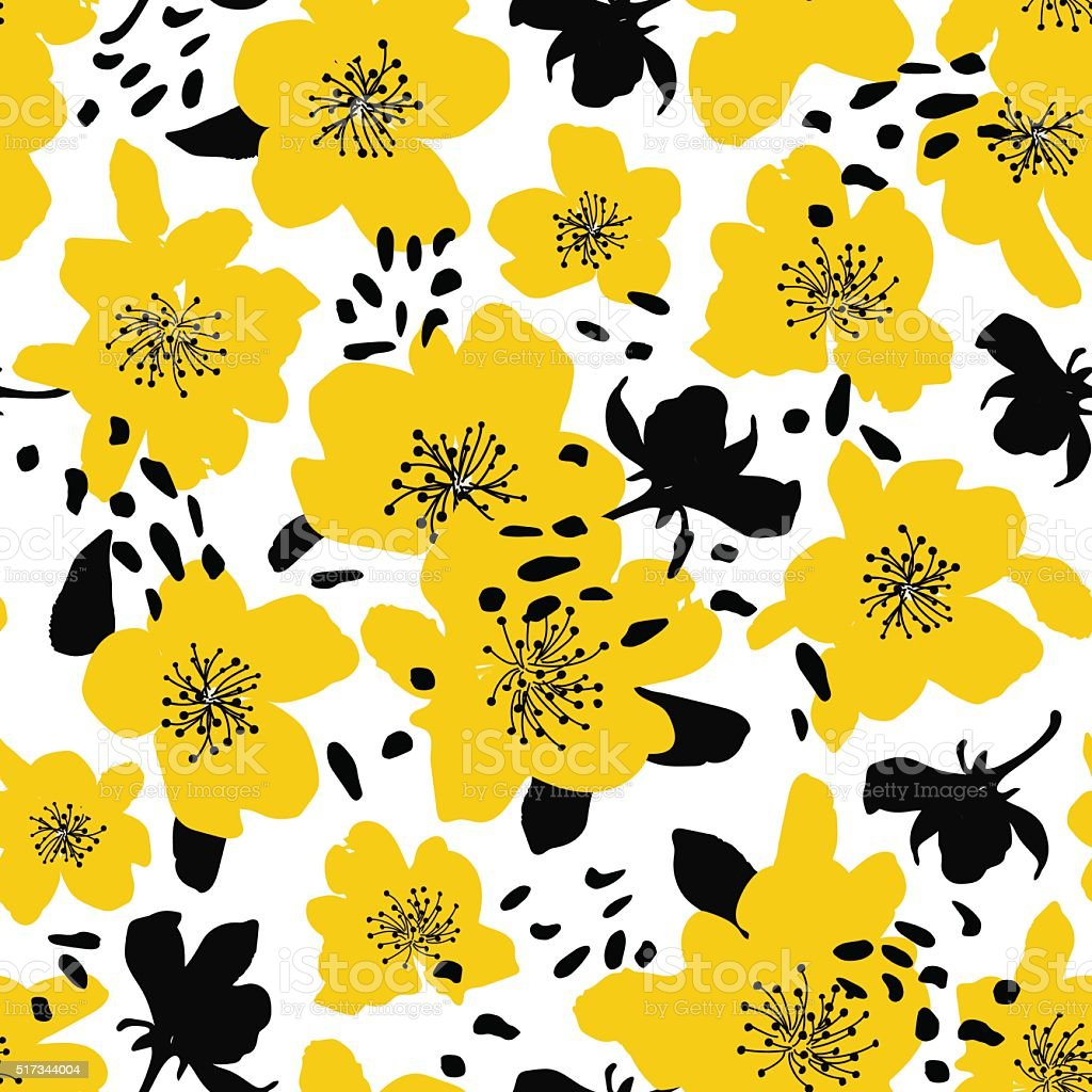 Abstract seamless pattern with isolated flowers silhouettes.向量藝術插圖