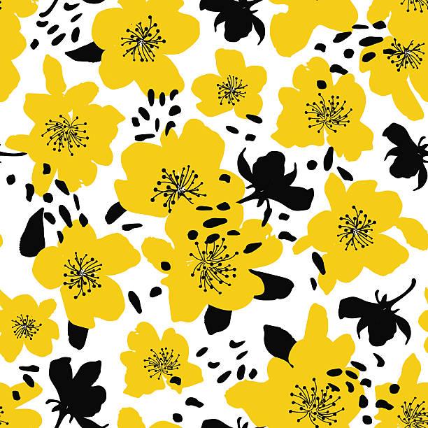 抽象継ぎ目のないパターン、絶縁花のシルエット。 ベクターアートイラスト