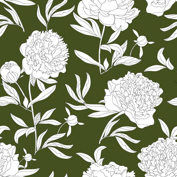 abstract seamless pattern with line leaves and flowers. blossom floral vector texture in modern style. hand drawn peonies on green background. good for fashion prints. elegant summer or spring design. - spring fashion stock illustrations, clip art, cartoons, & icons