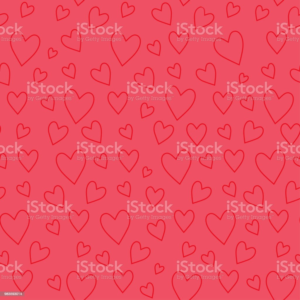 Abstract seamless pattern with red hearts on pink background royalty-free abstract seamless pattern with red hearts on pink background stock illustration - download image now