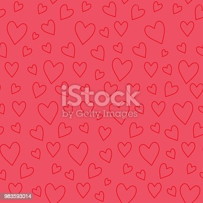 Abstract seamless pattern with red hearts on pink background.Trendy hand drawn texture for paper, wallpaper, cover, fabric, Interior decor. Vector illustration