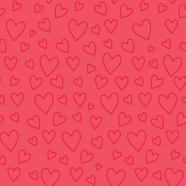 abstract seamless pattern with red hearts on pink background - valentines day stock illustrations