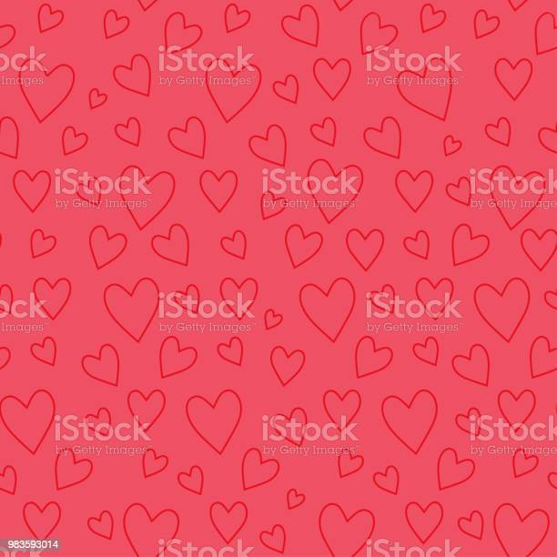 Abstract Seamless Pattern With Red Hearts On Pink Background - Arte vetorial de stock e mais imagens de Abstrato