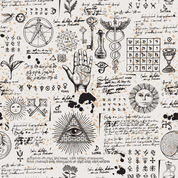 abstract seamless pattern with sketches and notes - freemasons stock illustrations