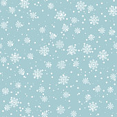 Abstract seamless pattern with snowflakes. Dotted winter background for xmas and New Year design