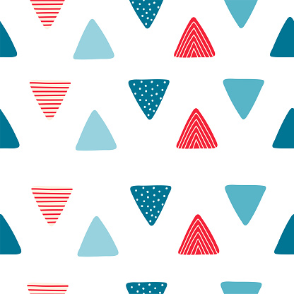 Abstract seamless pattern with triangular flags in cartoon style. Texture for kids room design, Wallpaper, textiles, wrapping paper, apparel. Vector illustration