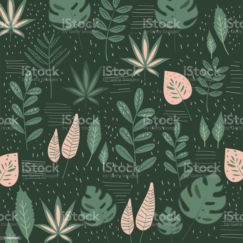 Abstract Seamless Pattern With Tropical Leaves Hand Draw Texture Vector Template Stock Illustration Download Image Now Istock Tropical leaf palm print, showing various tropical plants together in one poster. https www istockphoto com vector abstract seamless pattern with tropical leaves hand draw texture vector template gm1198858861 342783351