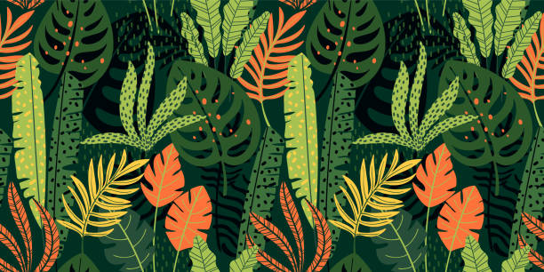 abstract seamless pattern with tropical leaves. vector template. - jungle stock illustrations