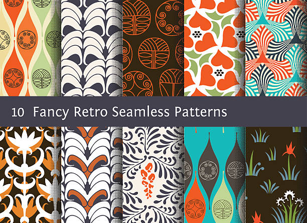 abstract seamless patterns. geometrical and floral ornamental motifs. retro style - 1970s style stock illustrations, clip art, cartoons, & icons